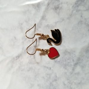 Hand Crafted Jewelry - SWAN IN LOVE   Enamel Earrings Stainless Steel